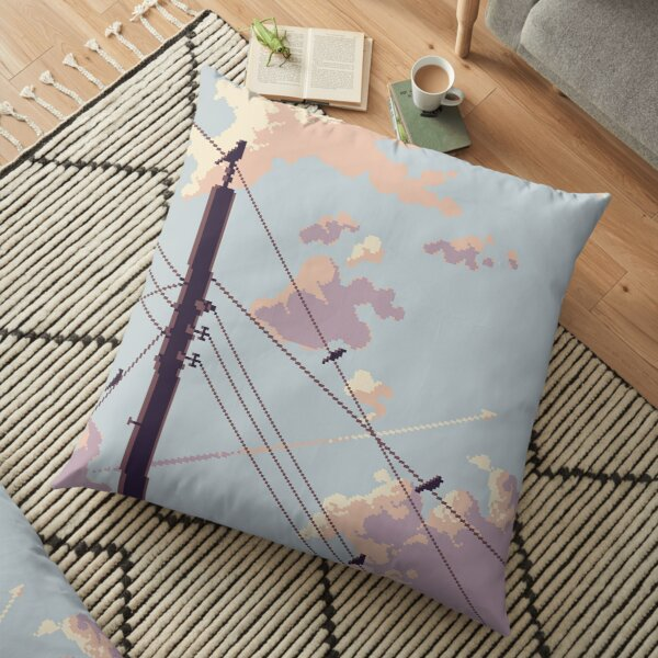 Birds and Electricity Floor Pillow