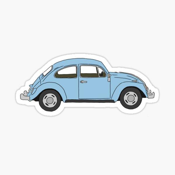 Blue Volkswagen Beetle Sticker