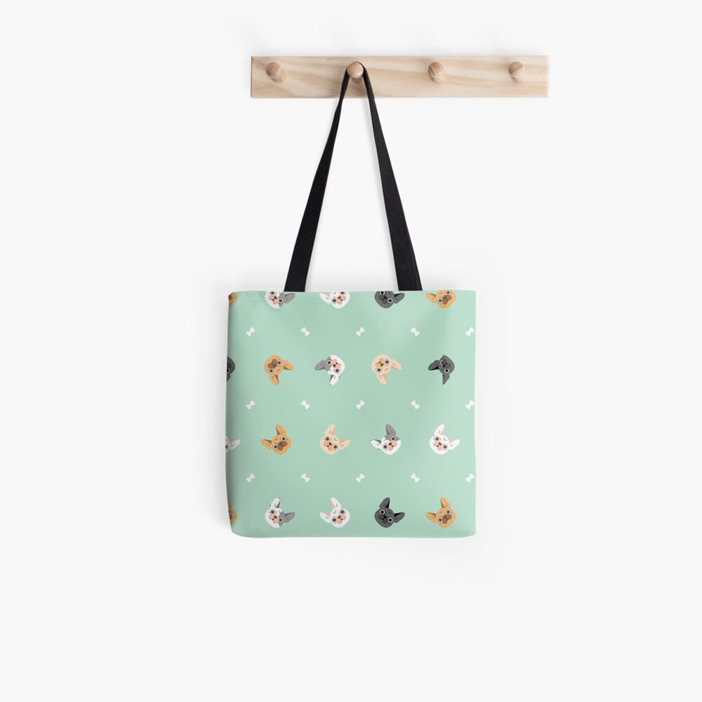 French Bulldogs Pattern in Mint Background  Tote Bag