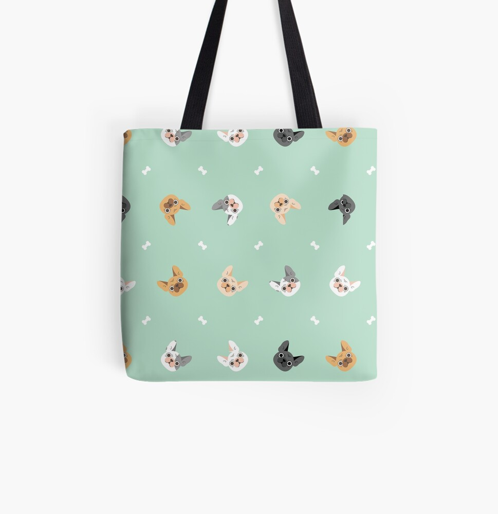 French Bulldogs Pattern in Mint Background  All Over Print Tote Bag