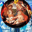 Christmas - Botticelli's Maria with Christ Child and Five Angels by F.A. Moore