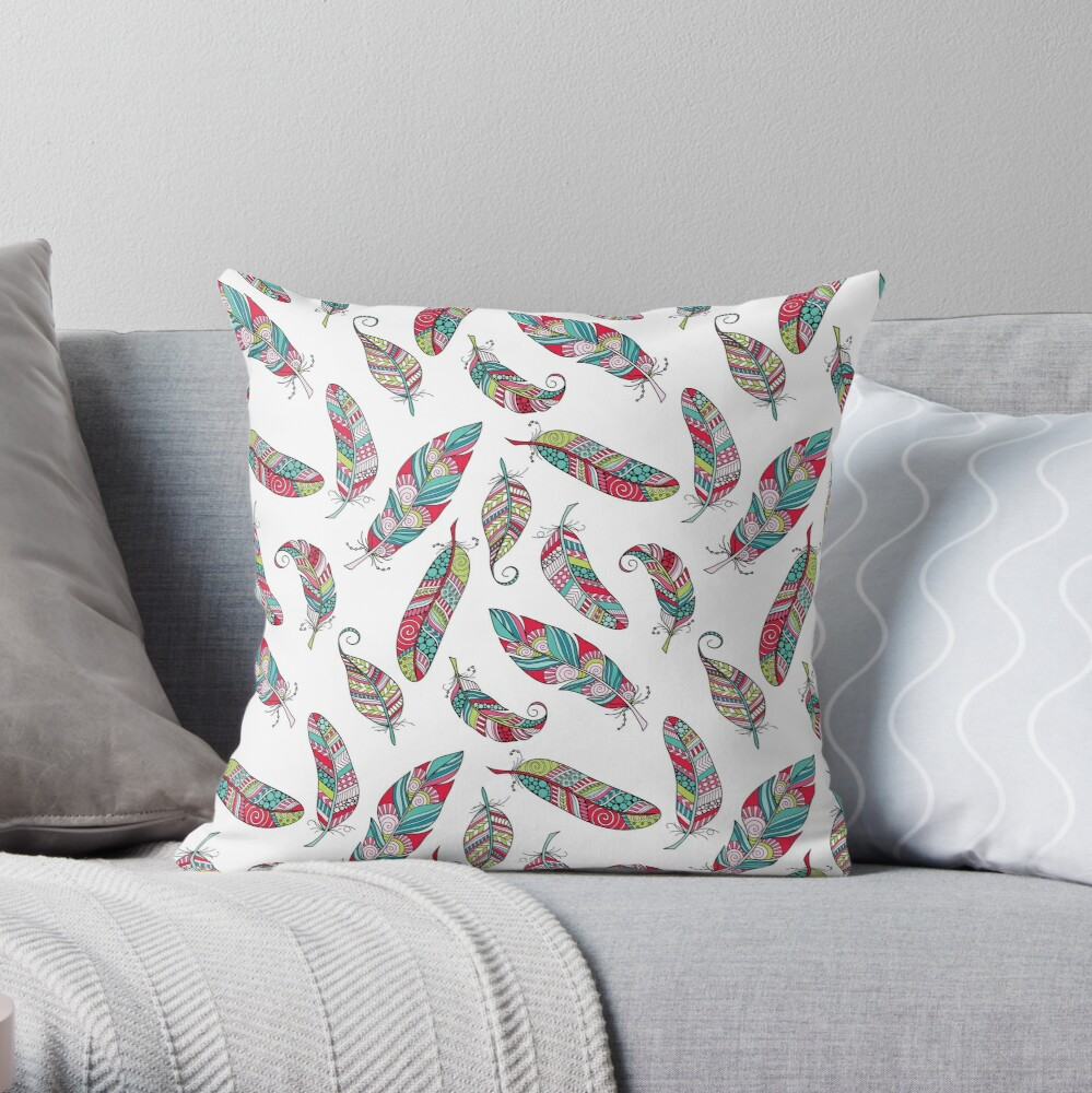 Bright Doodle Feather Pattern Throw Pillow
