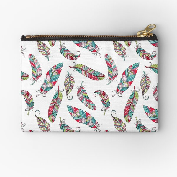 Bright Doodle Feather Pattern Zipper Pouch