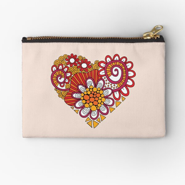 Bright Heart Doodle Zipper Pouch