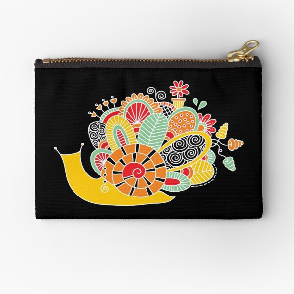 Cute Snail with Flowers & Swirls on Dark Background Zipper Pouch