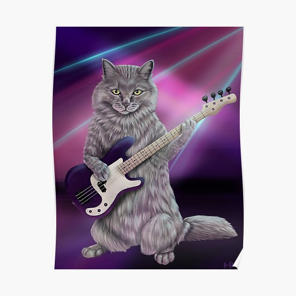 Bass Cat- Rock band kitty playing the bass guitar Poster