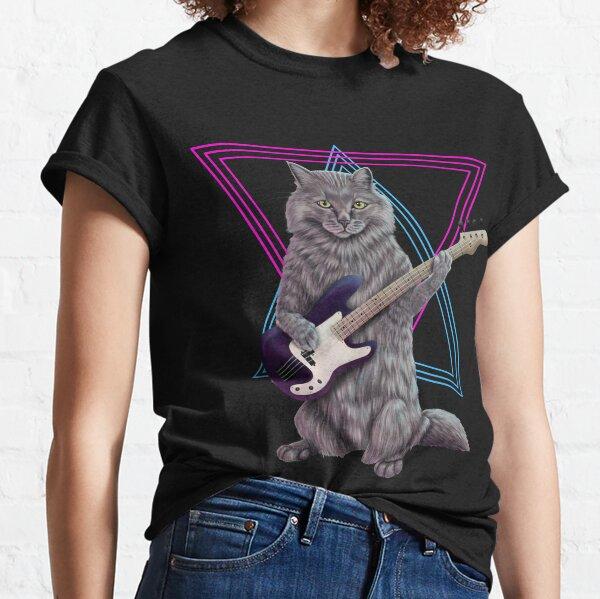 Bass Cat- Rock band kitty playing the bass guitar Classic T-Shirt
