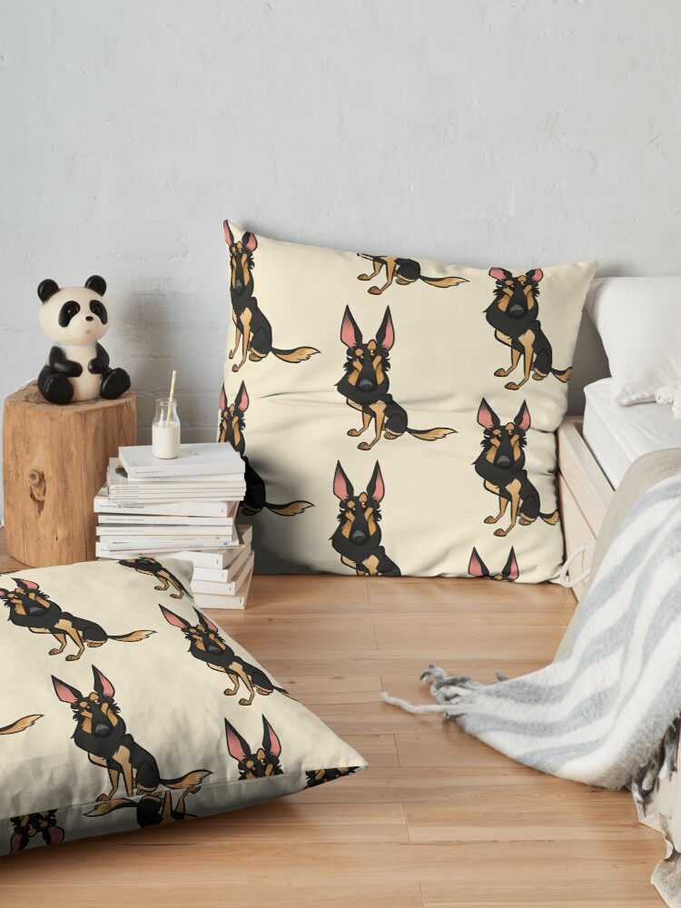 Alternate view of Black and Tan Shepherd Floor Pillow