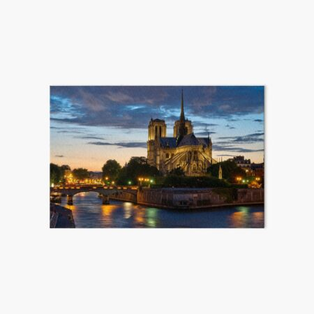 Notre Dame Cathedral at night Art Board Print