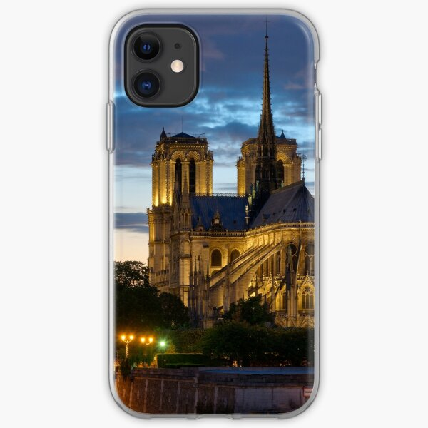 Notre Dame Cathedral at night iPhone Soft Case