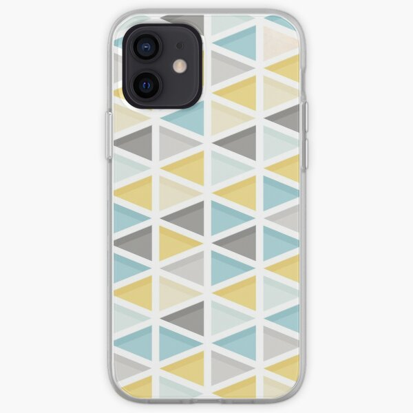 Blue, Mustard and Grey Triangle Pattern iPhone Soft Case