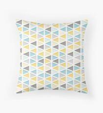 Blau, Senf und Gray Triangle Pattern Dekokissen