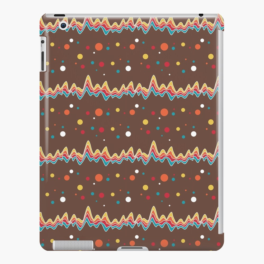rainbow ecg and colorful confetti on chocolate iPad Case & Skin