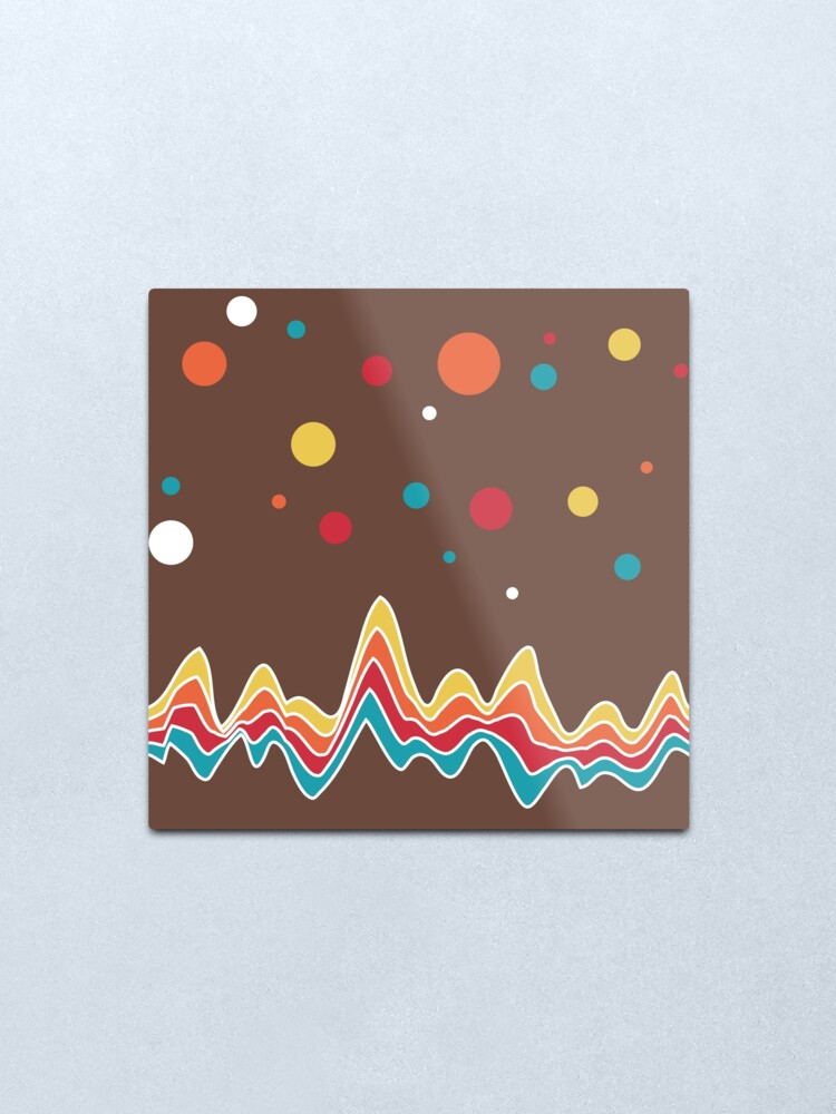 Alternate view of rainbow ecg and colorful confetti on chocolate Metal Print