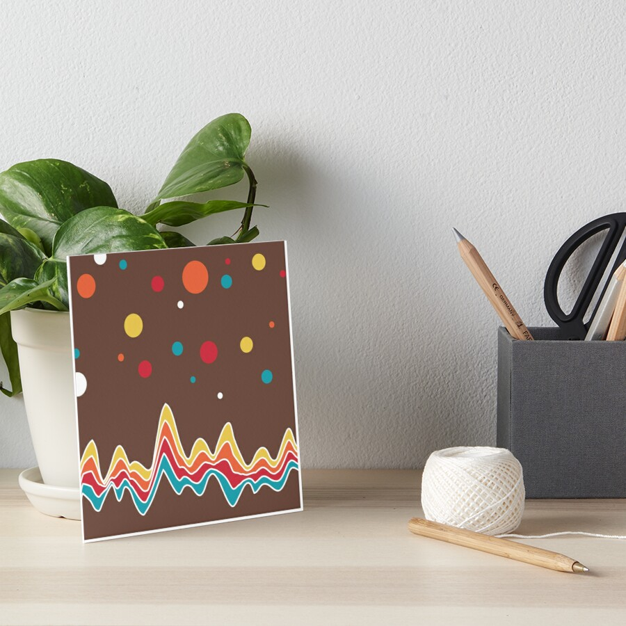 rainbow ecg and colorful confetti on chocolate Art Board Print