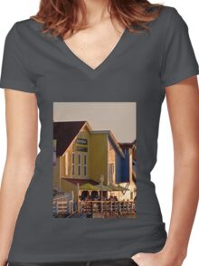 Sunset Glow Women's Fitted V-Neck T-Shirt