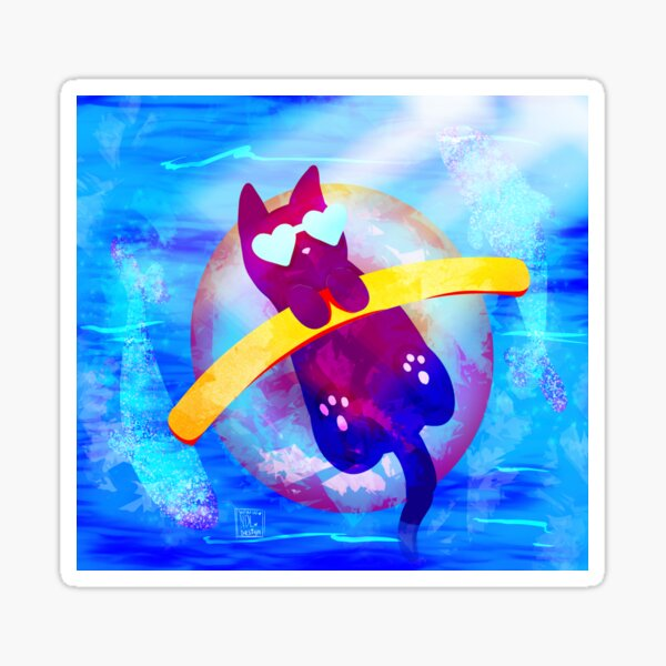 Glitter Fish Kitty Pool Noodle Sticker