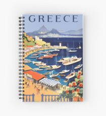 Greece / Greek Islands Retro Travel Poster Spiral Notebook