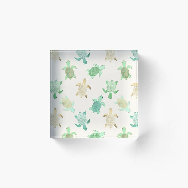 Gilded Jade & Mint Turtles Acrylic Block