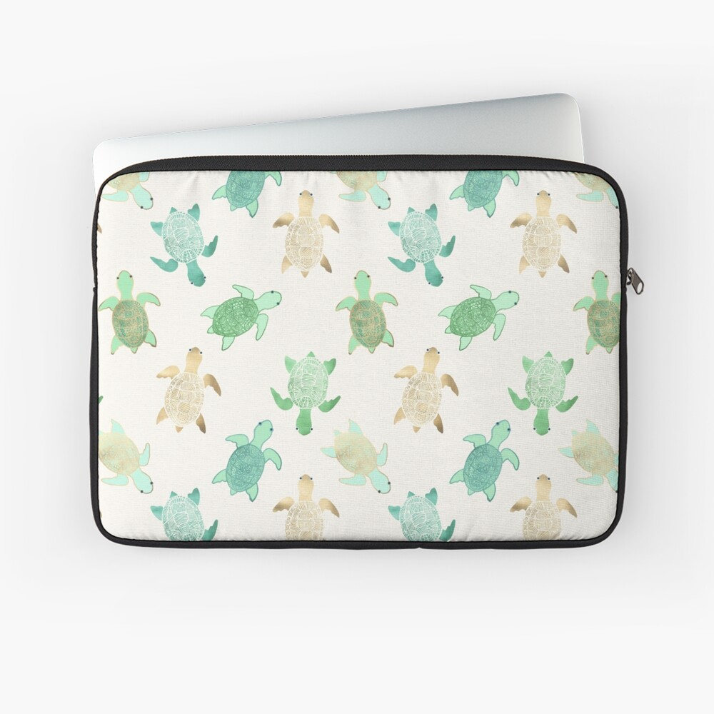 Gilded Jade & Mint Turtles Laptop Sleeve