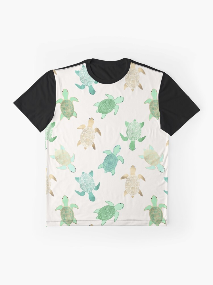 Alternate view of Gilded Jade & Mint Turtles Graphic T-Shirt