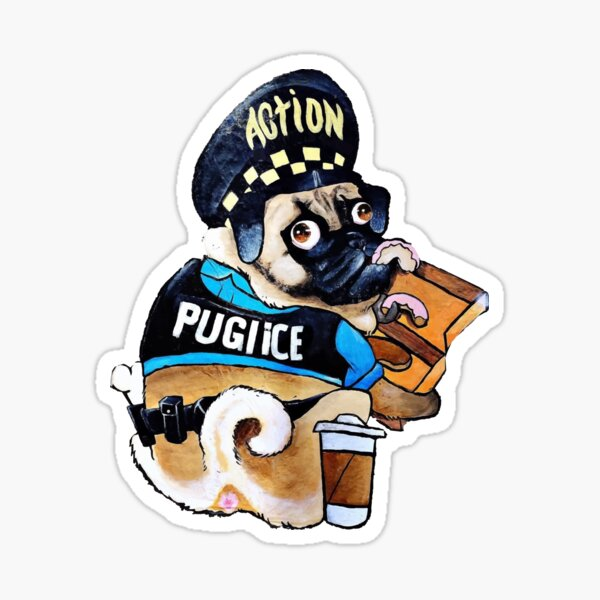 Cute police pug eating pink donuts Sticker