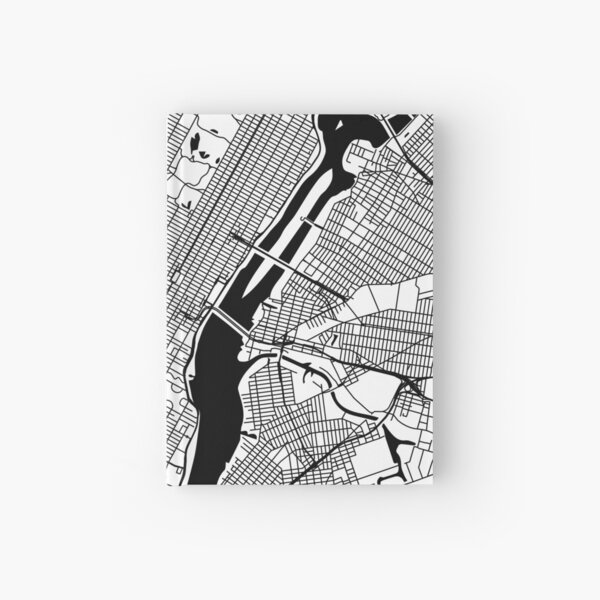 New York City Map City Map Poster Black and White, USA Gift Printable, Modern Map Decor for Office Home Living Room, Map Art, Map Gifts Hardcover Journal
