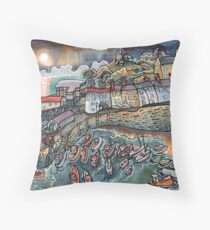 Beautiful harbour, Tenby, Wales Throw Pillow