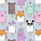 Kawaii Cuddly Animal Ice Creams // pale blue background by SelmaCardoso