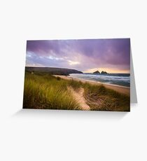 Holywell bay spectacular sunset Greeting Card