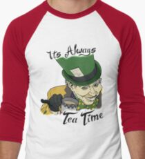 "The Mad Hatter ""Its Always Tea Time"" Men's Baseball ¾ T-Shirt"