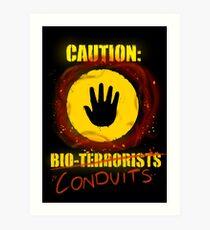 Caution: Bioterrorists (defaced 2) Art Print
