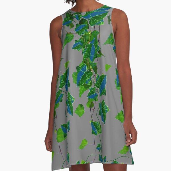 GARDEN ART BLUE-GREEN TRAILING IVY HOUSE PLANTS   A-Line Dress