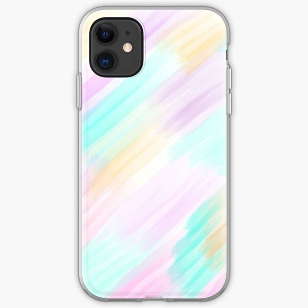 Girly Light Pink Yellow Teal Brushstrokes Pattern iPhone Soft Case