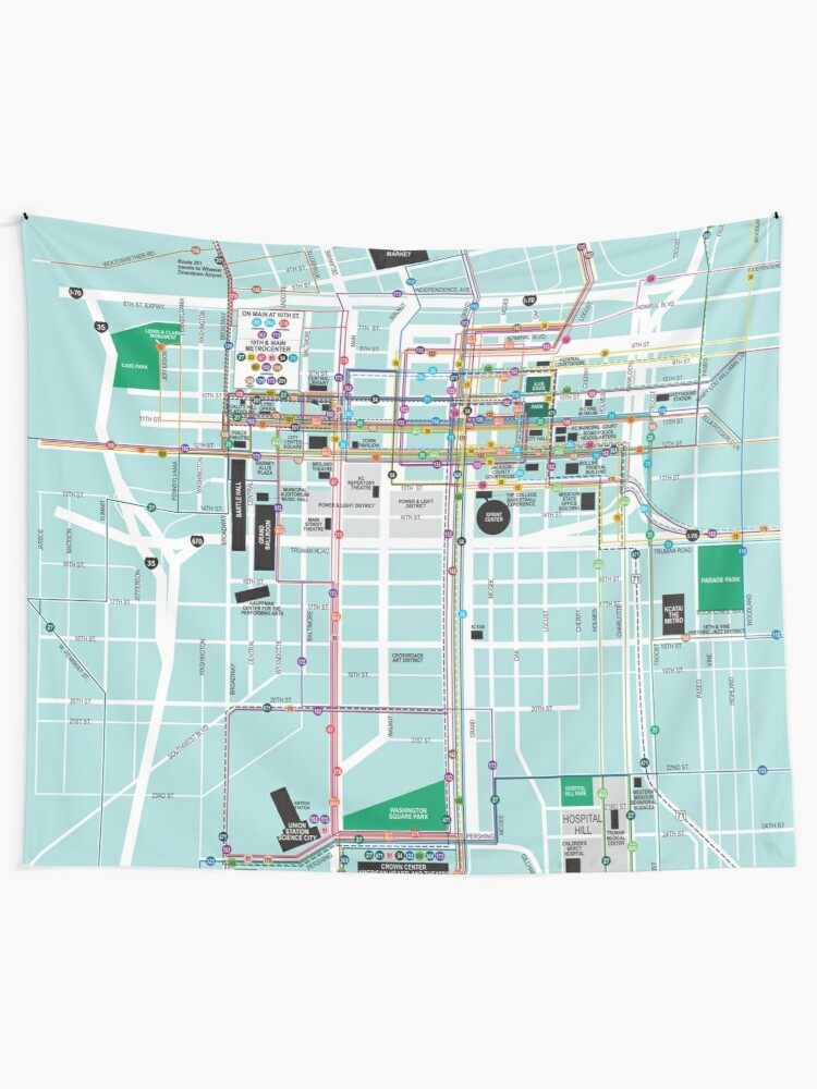 United States of America - Kansas City - Downtown Map - HD | Wall Tapestry
