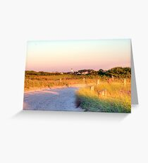 Sun Going Down on Beach Road Greeting Card