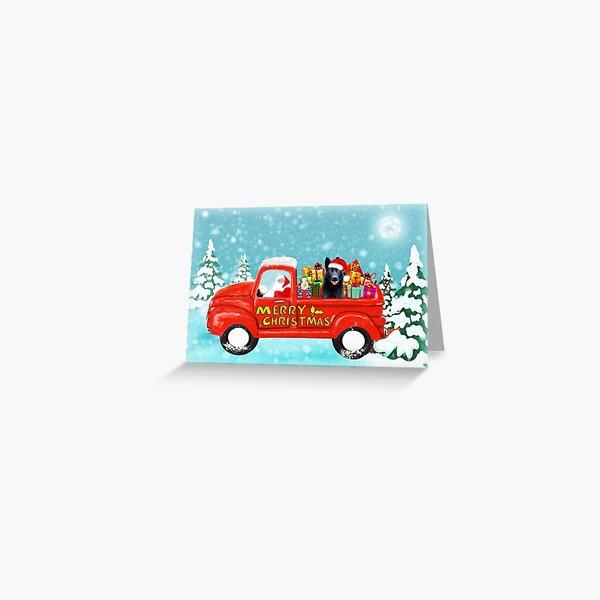 Christmas Santa Black German Shepherd Dog Christmas gifts delivery truck Greeting Card