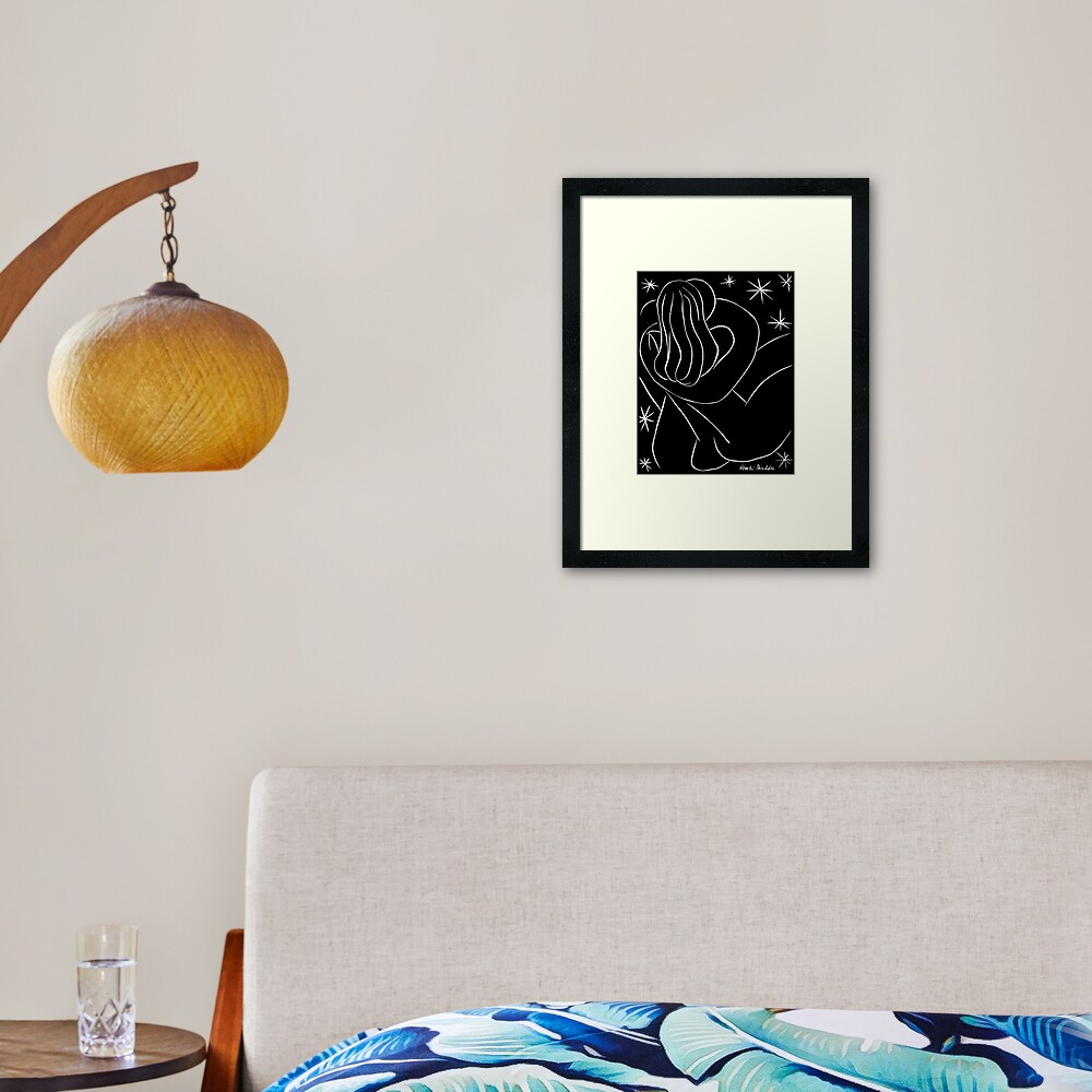 STARRY NIGHT COUPLE : Vintage Matisse Black and White Painting Print Framed Art Print