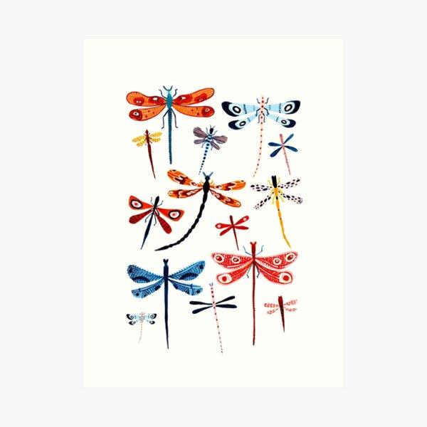 Woodland Dragonflies Art Print