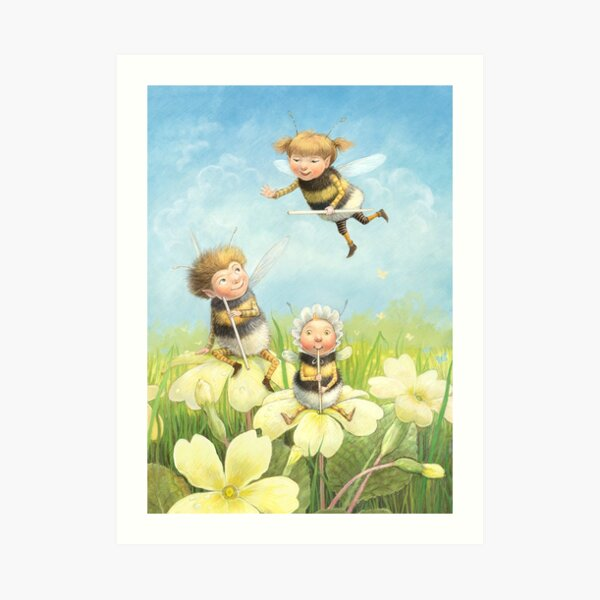 The Bimbles - Cute bee-pixie family Art Print