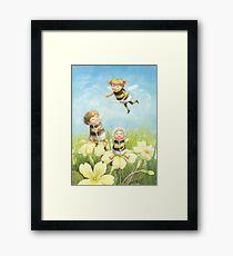 The Bimbles - Cute bee-pixie family Framed Art Print