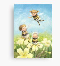 The Bimbles - Cute bee-pixie family Canvas Print