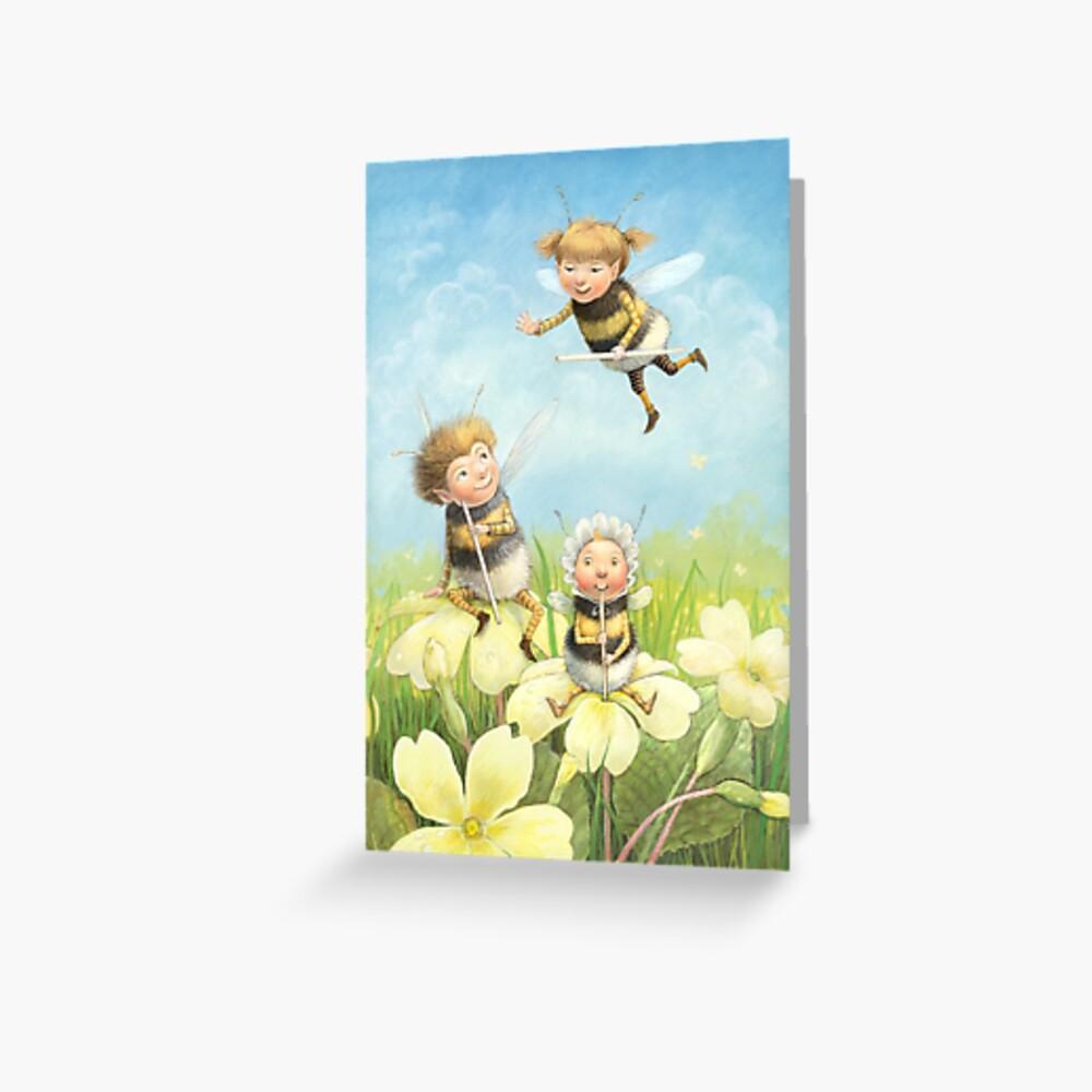 The Bimbles - Cute bee-pixie family Greeting Card