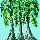 Three Whimsical Palm Trees by Annette Marionneaux Stevenson