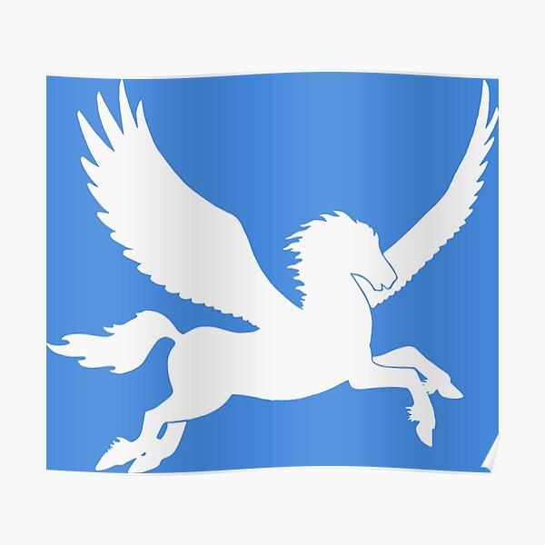 White Pegasus Silhouette Poster