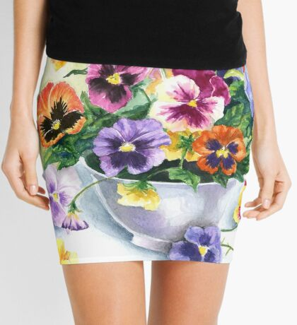 Little Sip  - Chickadee with Pansies Mini Skirt
