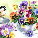 Little Sip  - Chickadee with Pansies by ferinefire
