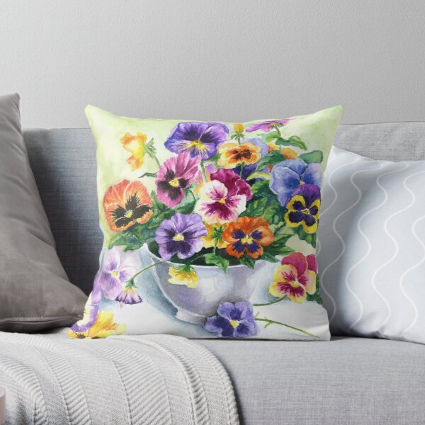 Little Sip  - Chickadee with Pansies Throw Pillow