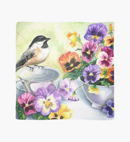 Little Sip  - Chickadee with Pansies Scarf