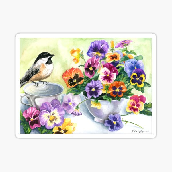 Little Sip  - Chickadee with Pansies Sticker